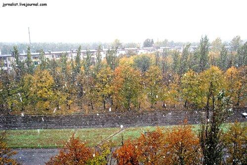 суровое бабье лето по-лугански идет снег