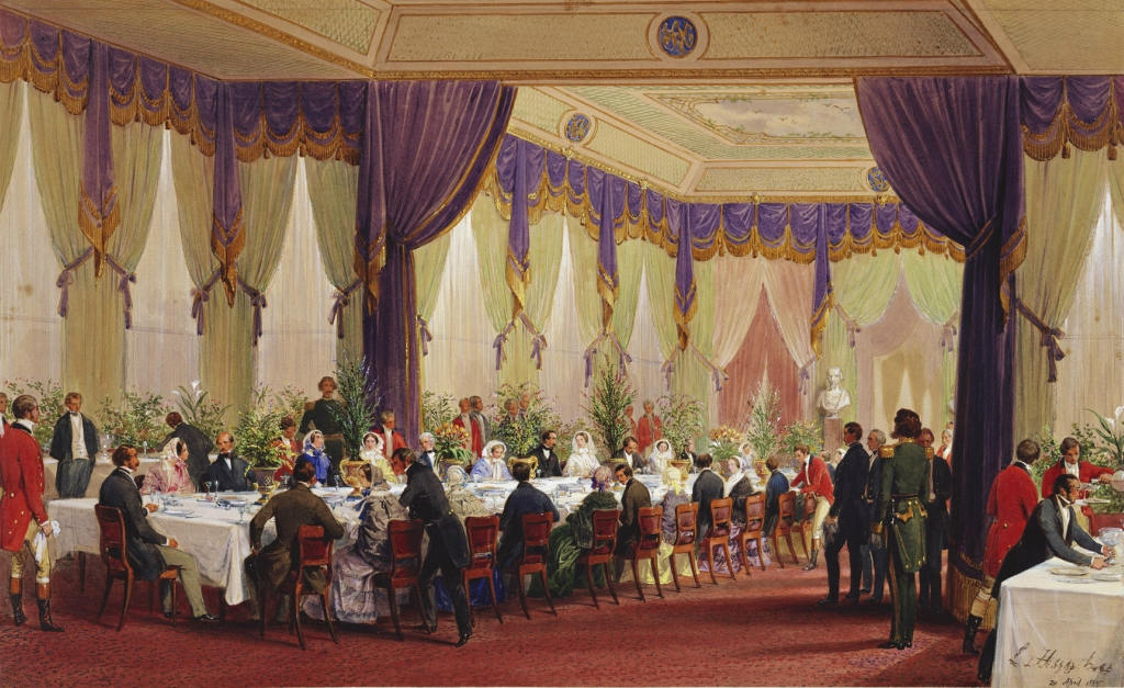 The Queen lunching with the Emperor and Empress of the French at the Crystal Palace, 20 April 1855