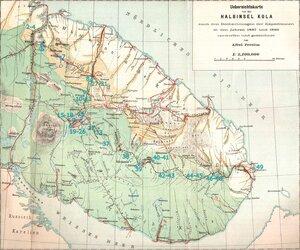 Маршрут Большой Кольской экспедиции 1887 года