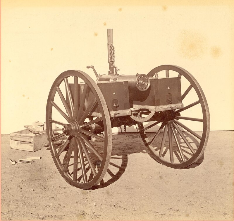 Colt Model 1877 Bulldog Gatling Gun, 10 barrel on a lightweight carriage.