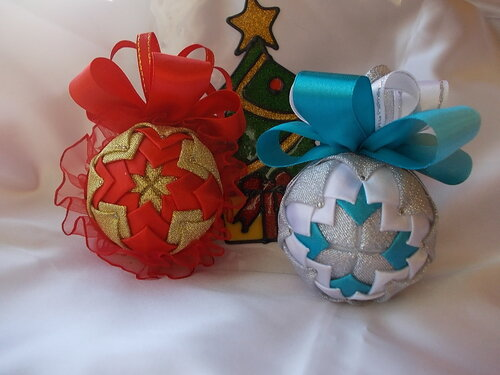 Новогодние шары своими руками в технике канзаши мастер класс