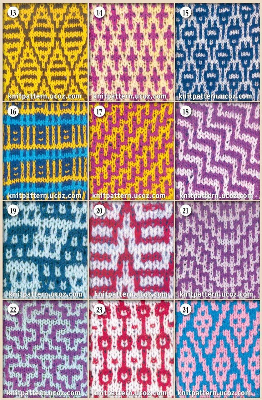 Вязание на спицах узоров двумя нитями