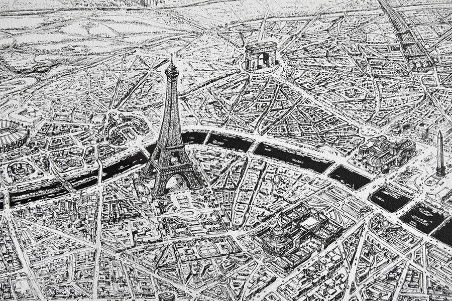 Hyper Detailed Pencil Drawing of Paris (12 pics)