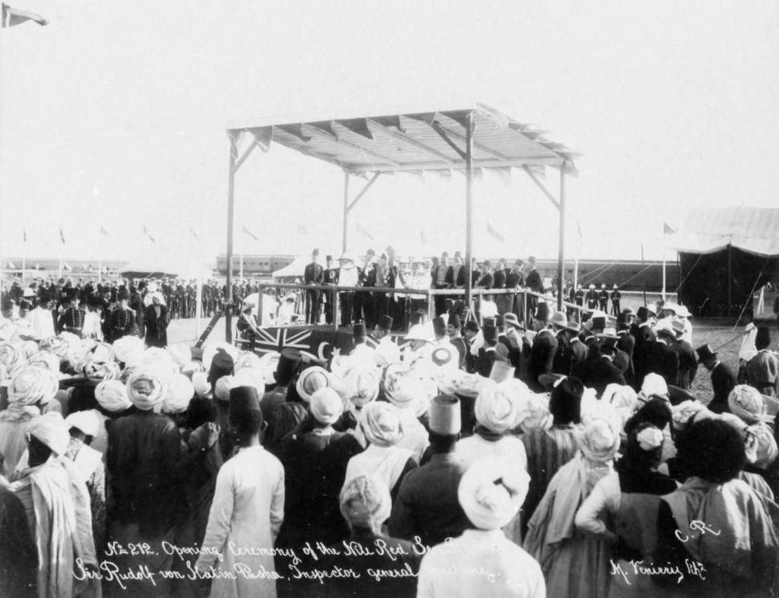 Церемония открытия  навигации по реке Нил до Красного моря. Выступает сэр Рудольф фон Слатин, генеральный инспектор