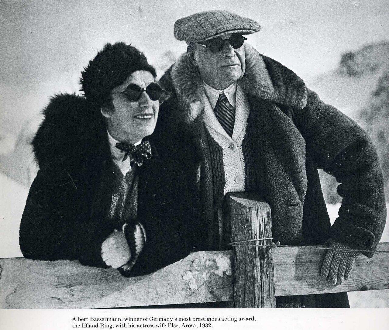 1932. Актер Альберт Бассерман со своей женой актрисой Эльзой. Ароза, Швейцария