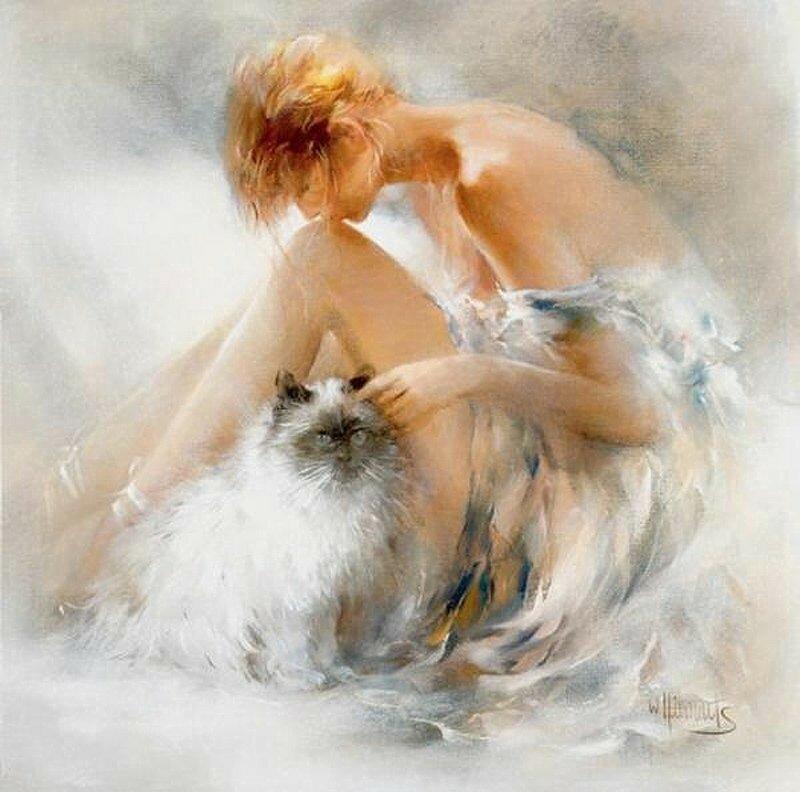 Художница рисует акварелью