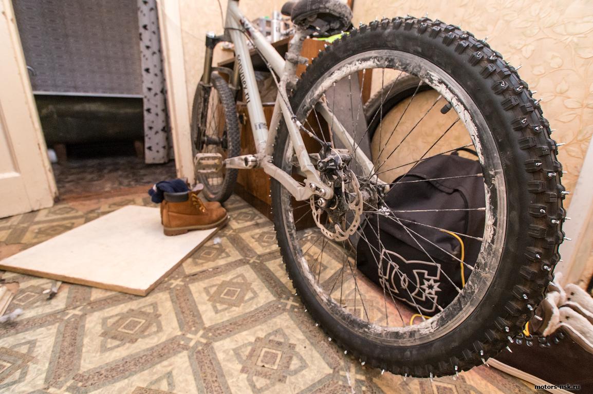 Как сделать зимние шины для велосипеда