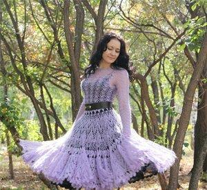 Мохеровая дымка - платье крючком