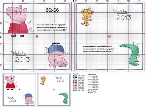 Схема вышивки крестом свинка пеппа