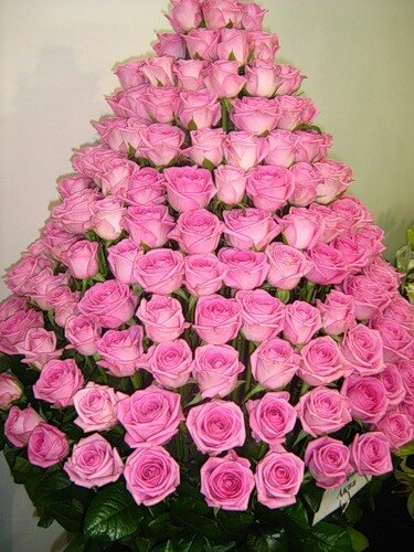 Поздравляю !!! Букет розовых роз в виде пирамидки открытка поздравление картинка