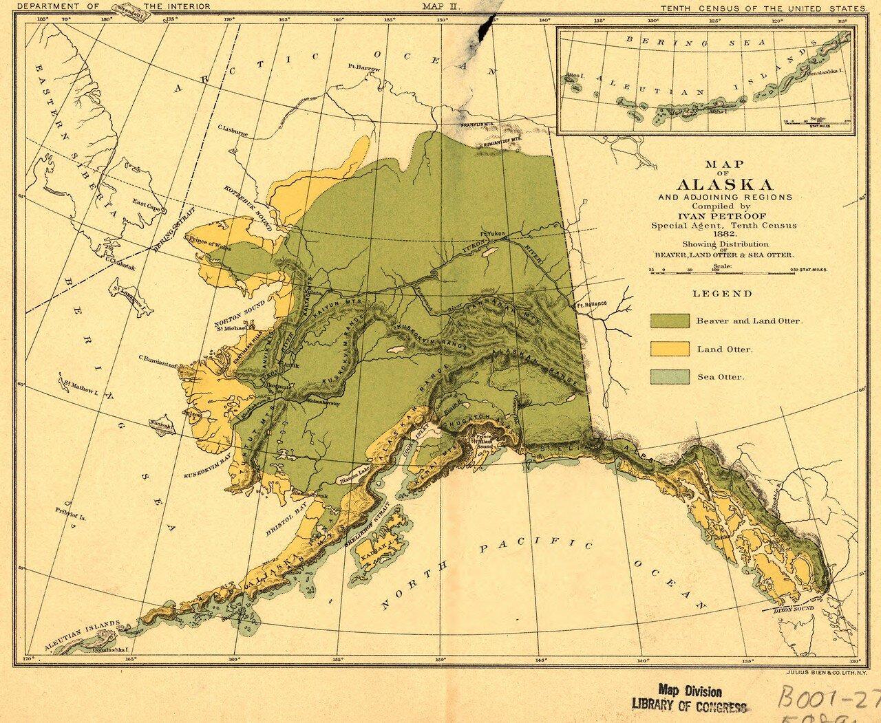 1882. Карта Аляски и прилегающих регионов