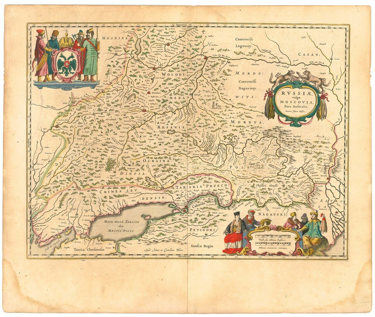 1645. Карта Московии. Южная часть