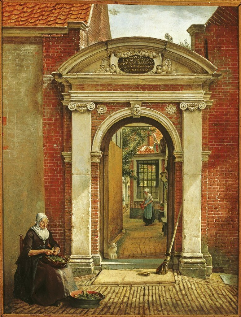 Hendriks, Wybrand - Врата Богадельни Бакенеса (Bakenes) в Харлеме, 1815-18, 49,5 cm x 37,5 cm, Дерево, масло.jpg
