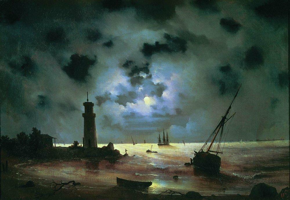 Берег моря ночью. У маяка. 1837.jpg