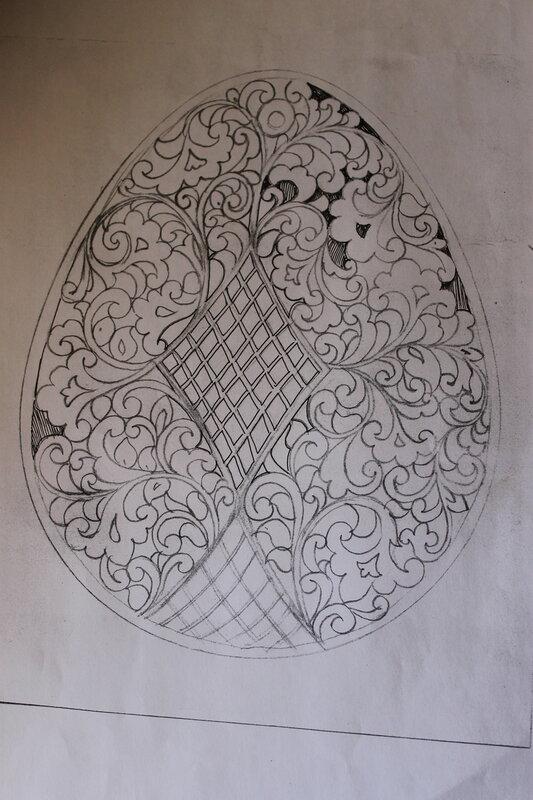 Эскиз резьбы для плоского пасхального яйца.