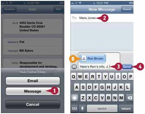 Откроется экран нового сообщения с прикрепленной карточкой контакта