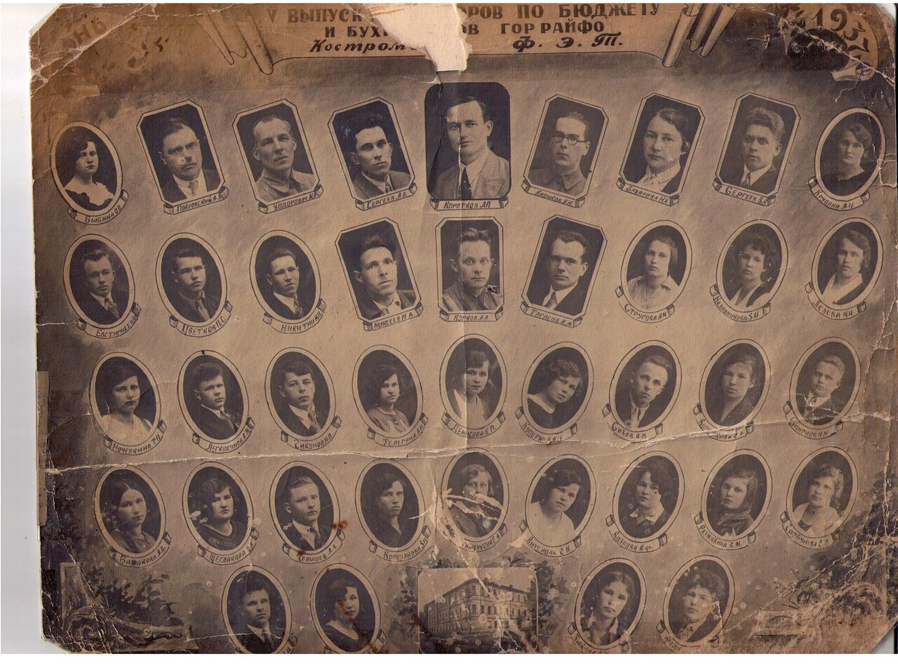 1937 г.5-й выпуск бухгалтеров по бюджету и бухгалтеров гор райфо Костромского ФЭТ