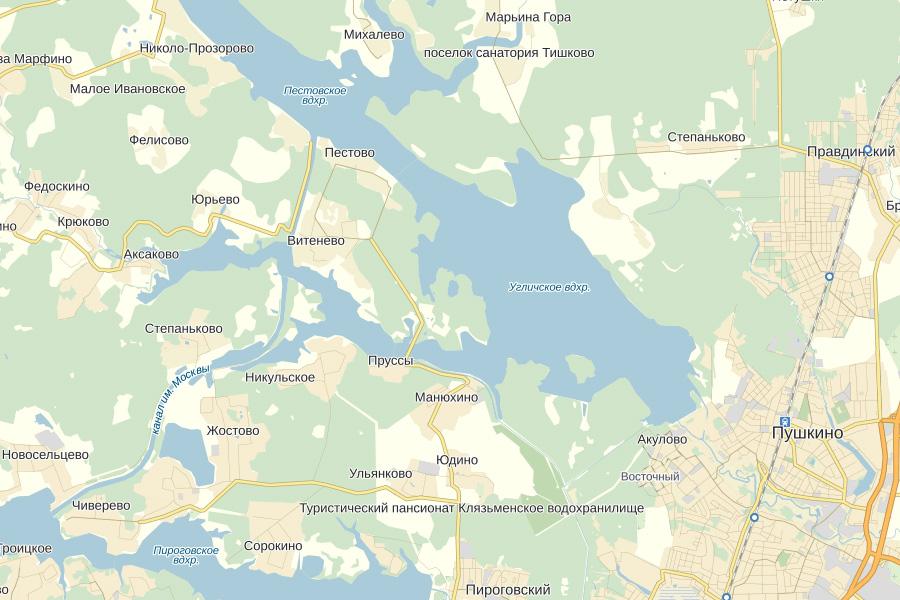 Угличское водохранилище в Московской области на Яндекс Картах