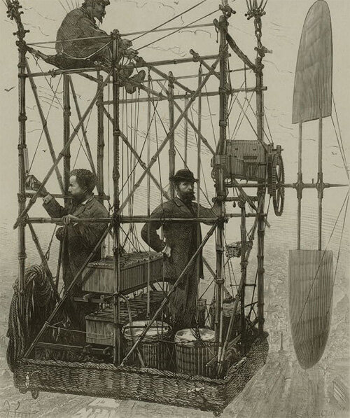 Tissandier brothers and unidentified man in the basket of their airship c1880-1900