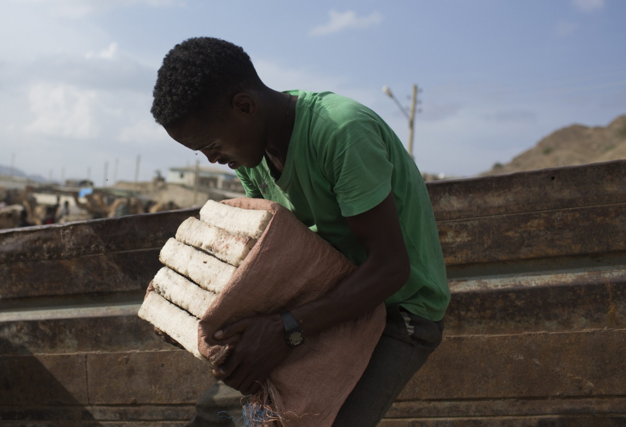 A man lifts slabs of salt onto a truck in the town of Berahile in Afar, northern Ethiopia