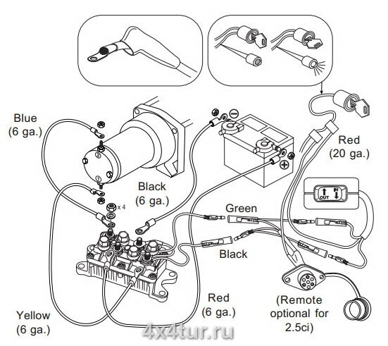 Схема подключения лебёдки WARN