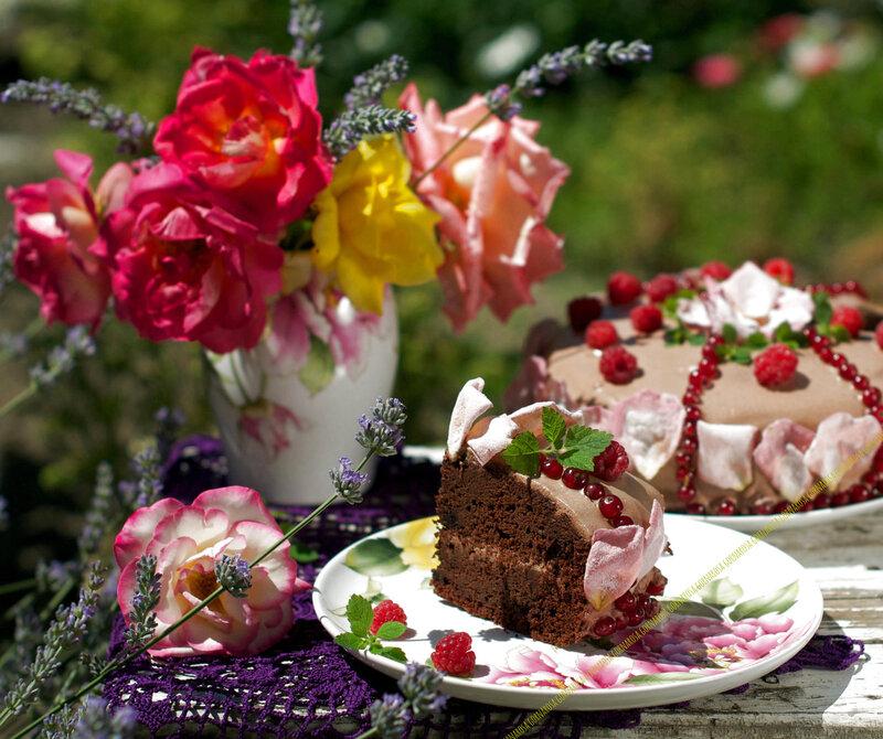 "Торт на свекле ""Лето в шоколаде""и засахаренные лепестки роз"