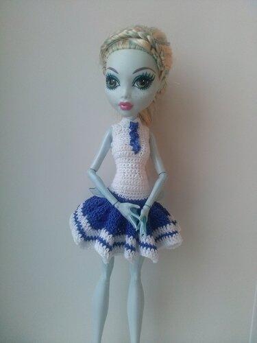 Как связать крючком платье кукле монстер хай