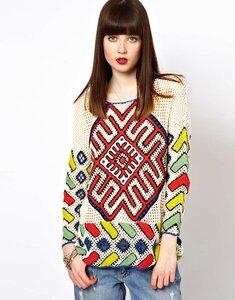 Старинный оберег - летний свитер в этно стиле крючком