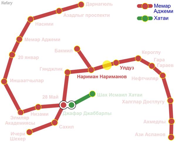 Пожар в Бакинском метро. Схема