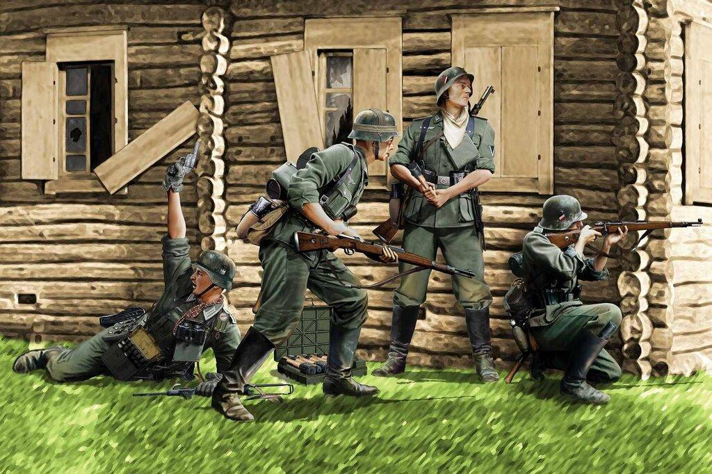 Солдаты вермахта ведут бой