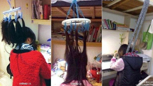 китайские студенты привязывают волосы к потолку
