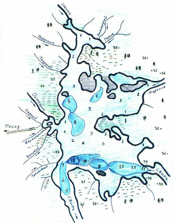 Рисунок с глубинами Ивинского разлива