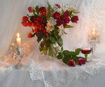 ...с букетом роз морозный зимний вечер...