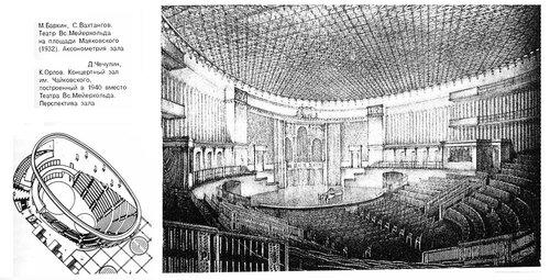 Концертный зал им. Чайковского, интерьер, аксонометрия проекта театра Мейерхольда