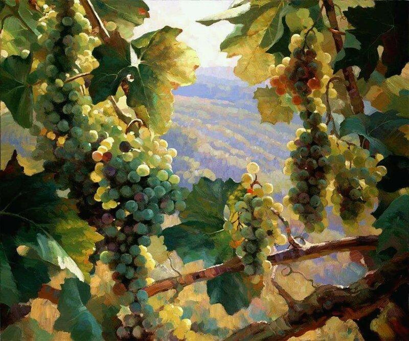 Вот ещё одна осень сладким запахом винным закружила. Художник Leon Roulette