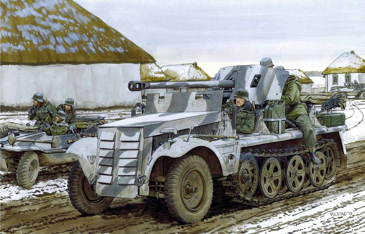 Немецкое противотанковое орудие Pak 38 на базе полугусеничного тягача SdKfz 10  (Ron Volstad)