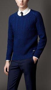 Стильный мужской пуловер от BURBERRY LONDON спицами