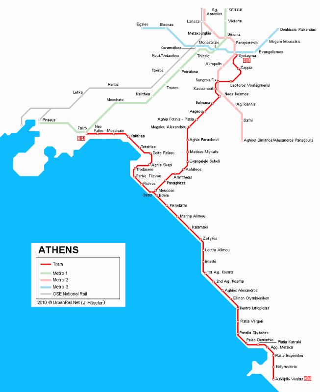 очередь афинского трамвая.