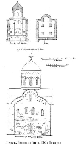 Церковь Николы на Липне в Новгороде, чертежи