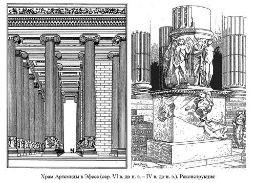 Храм Артемиды в Эфесе, интерьер, деталь входа,реконструкция