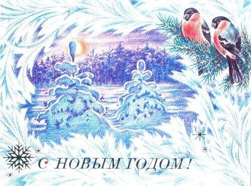 С Новым годом! Снегири и ели открытка поздравление картинка
