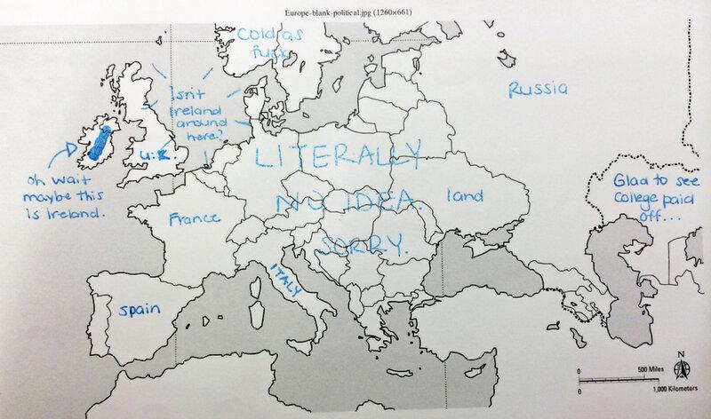 Konturnaya Karta Evropy Glazami Amerikanskih Shkolnikov