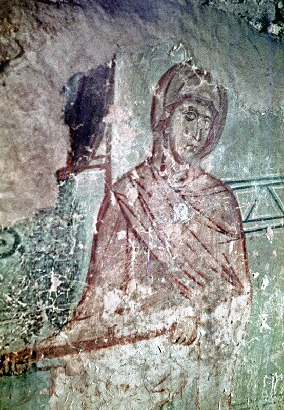 Новгород,Николо-Дворищенский собор. Фрагмент фрески Иов на гноище.