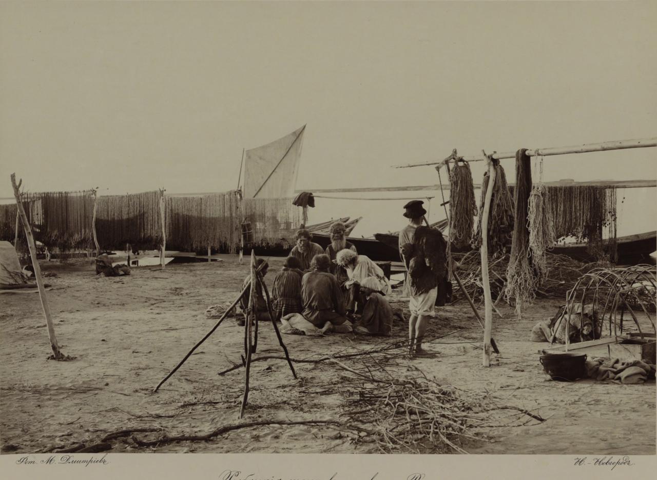 Волжские виды. Рыбацкие тони в низовьях Волги. 1890-е