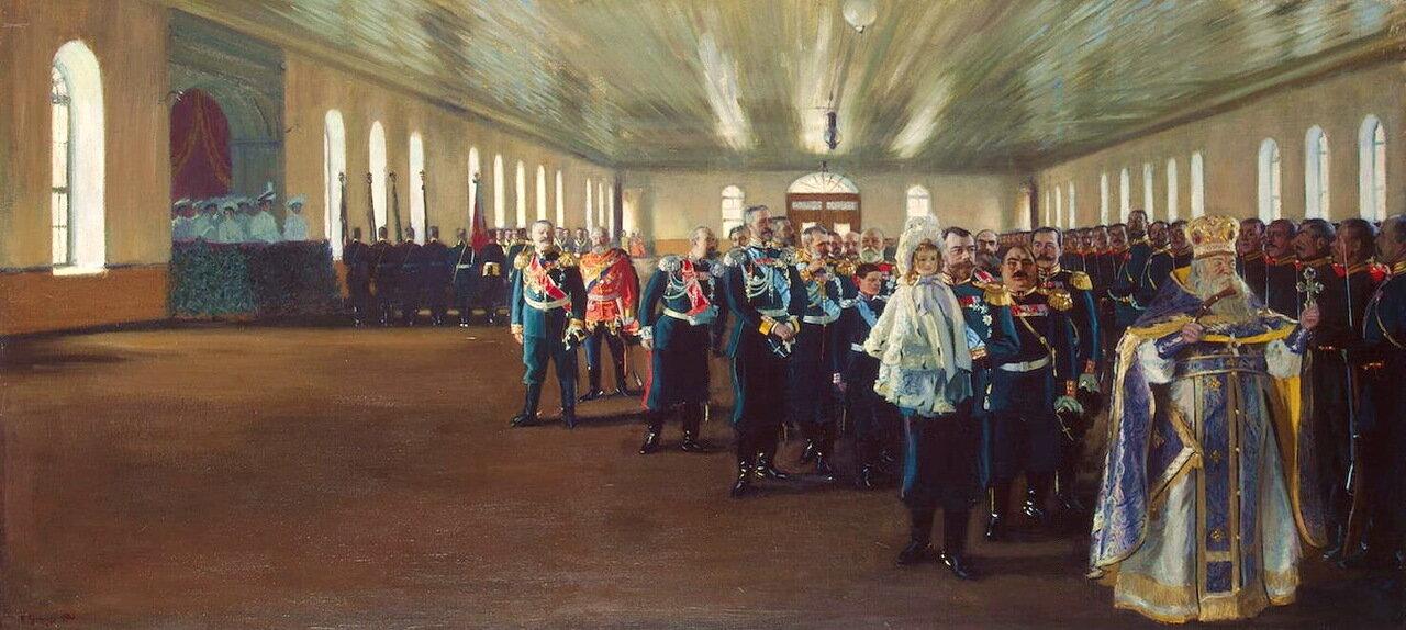 Борис Михайлович Кустодиев. Церковный парад лейб-гвардии Финляндского полка 12 декабря 1905 года