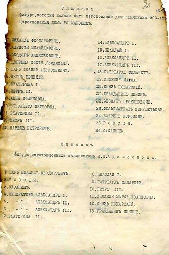 <a href='http://img-fotki.yandex.ru/get/9308/97867398.18/0_9141b_d7bf2cc2_orig.jpg'>1913 г. – Список фигур, которые должны быть изготовлены для памятника 300-летия царствования Дома Романовых.</a>