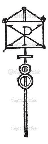 Labarum or Chi-Rho symbol for Christ vintage engraving