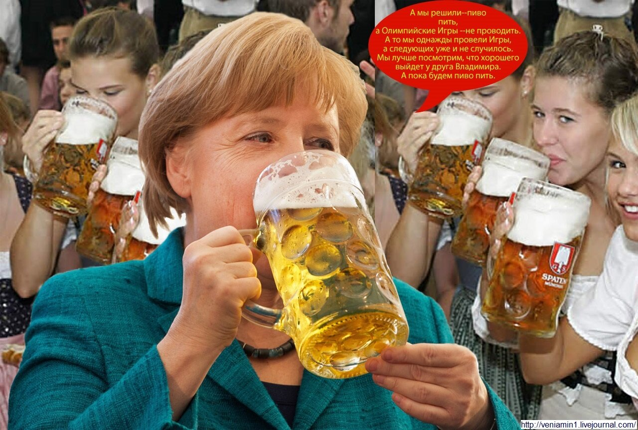 German Chancellor Angela Merkel drinks a glass of beer at a festival in Munich.(Photo credit: PETER KNEFFEL/AFP/Getty Images)