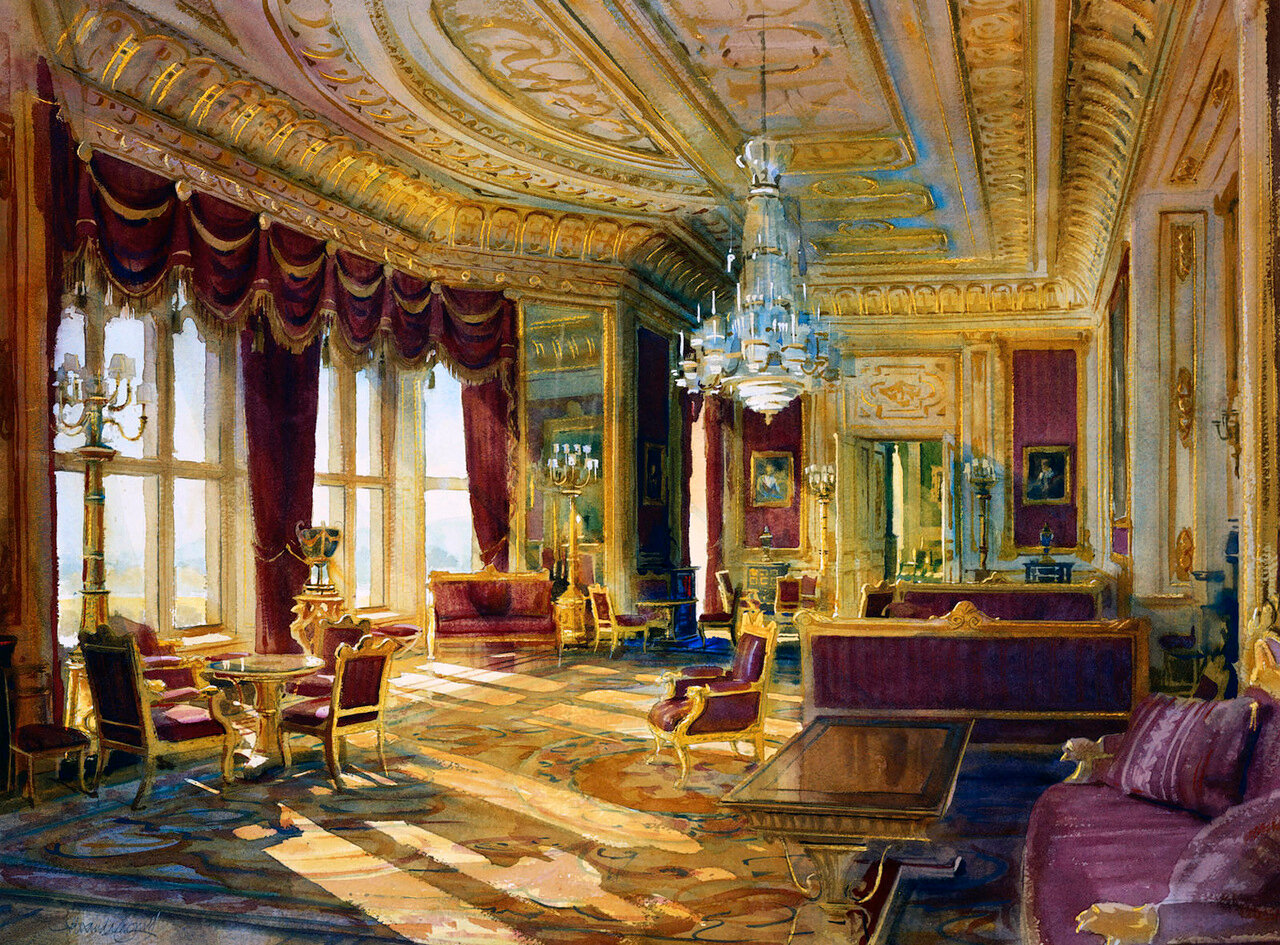 Windsor Castle: the Crimson Drawing Room, after restoration