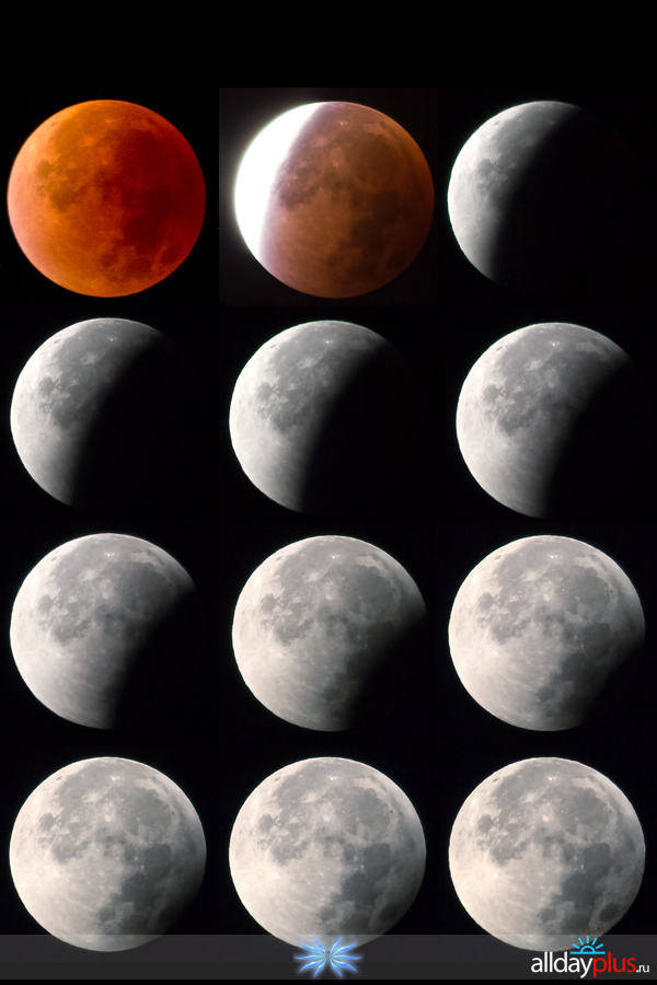 Полное лунное затмение в ночь 28 сентября 2015 года.